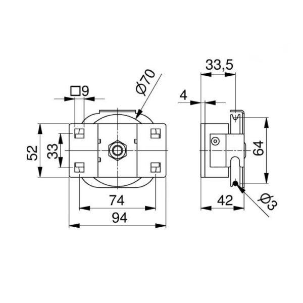 poulie-acier-60-mm-avec-support-dimensions-25270