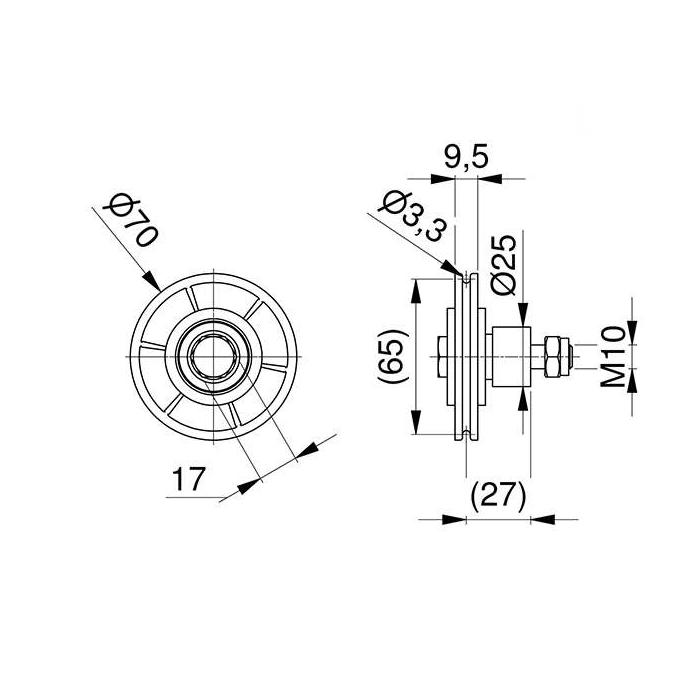 poulie-pvc-72-mm-avec-entretoise-dimensions-25258